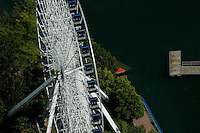 Aerial view of Ferris Wheel outside, Montreal Canada