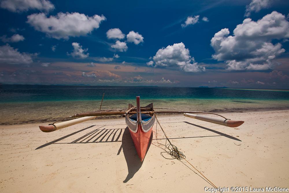 Red Traditional Boat & Ocean, Derawan Island Indonesia Kalimantan, Borneo