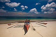 Red Traditional Boat & Ocean, Derawan Island Indonesia Kalimantan, Borneo