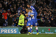 Brighton striker, Bobby Zamora (25) celebrates with Inigo Calderon (14) and Jamie Murphy (15) during the Sky Bet Championship match between Brighton and Hove Albion and Birmingham City at the American Express Community Stadium, Brighton and Hove, England on 28 November 2015. Photo by Geoff Penn.