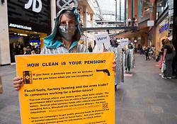 "© Licensed to London News Pictures;31/08/2020; Bristol, UK. Extinction Rebellion's 'Aged Agitators' stage a ""How clean is your pension"" protest through Bristol's central shopping area against what they say are the negative effects of some pension investments. The protest is part of a bank holiday weekend of protest action titled ""Bristol Rebellion: We Want To Live"". XR are protesting in Bristol and other cities in the UK against climate change, leading up to a protest in London starting on 01 September. XR say that despite clear scientific evidence of the deadly climate and ecological emergency, the UK government are refusing to take the urgent action needed to avoid mass extinction. XR say we need politicians to support the Climate and Ecological Emergency Bill. During the coronavirus covid-19 pandemic, climate change is being forgotten but it is still an emergency that is happening, the elephant in the room. Photo credit: Simon Chapman/LNP."