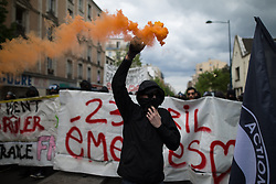 © Licensed to London News Pictures. 16/04/2017. Paris, France. Antifascist protesters opposed to a meeting by French far-right party , Front National , hold a demonstration in the North East of Paris . Photo credit: Joel Goodman/LNP