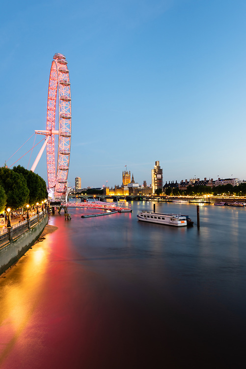 Southbank cityscape with River Thames and London Eye