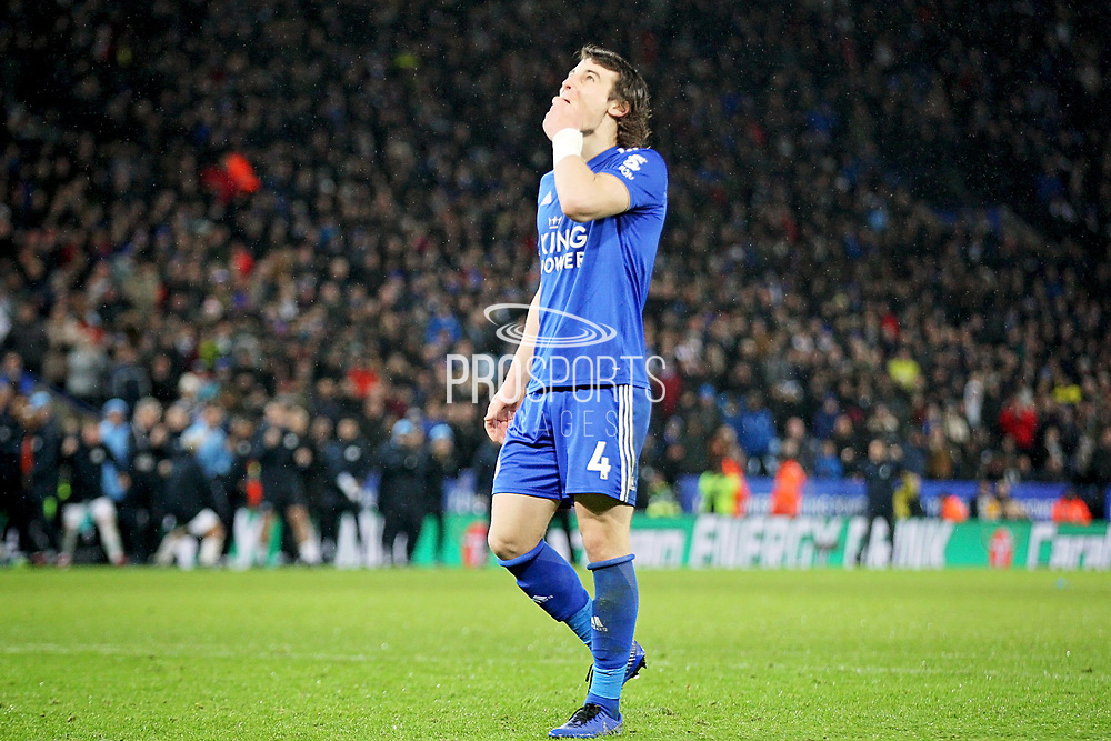 Leicester City midfielder Caglar Soyunco (4) after his penalty miss in the shoot out during the quarter final of the EFL Cup match between Leicester City and Manchester City at the King Power Stadium, Leicester, England on 18 December 2018.