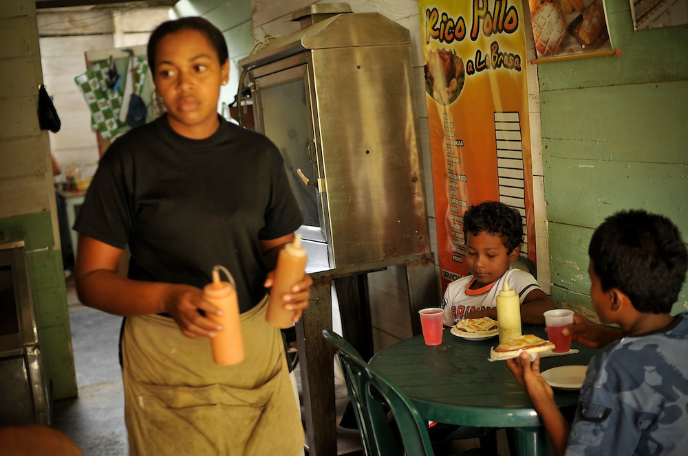 Erika Moreno, 26, serves a breakfast of arepas and fruit punch to her two sons at the restaurant where she works in Bahía Solano, located on the northern pacific coast in Chocó, the poorest department of Colombia. Radley, former president of Lucasfilm (Star Wars, Indiana Jones) traveled to Colombia this month as part of his decades-long search for the remains of his brother, Lawrence Radley, a Peace Corps volunteer who died in a plane crash in the Colombian jungle in 1962. Radley promised that he would someday retrace the last steps of his brother, and complete the journey from Bahía Solano to Quibdó, Colombia that his brother died trying to make.