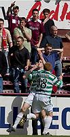 Hearts v Celtic, Scottish Premier League, Tynecastle Park, Edinburgh. Pic Shaun Dempsey, 15/05/2005<br /> Craig Beattir scores and celebrates in front of some dejected Hearts fans after winning goal for ~Celtic