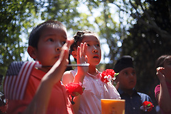 July 4, 2018 - Philadelphia, PA, United States - Immigrant children participate in their naturalization ceremony at the historic Betsy Ross House. (Credit Image: © Michael Candelori/Pacific Press via ZUMA Wire)