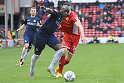 Southend United forward Marc-Antoine Fortune (9) on the attack 0-1 during the EFL Sky Bet League 1 match between Walsall and Southend United at the Banks's Stadium, Walsall, England on 28 October 2017. Photo by Alan Franklin.