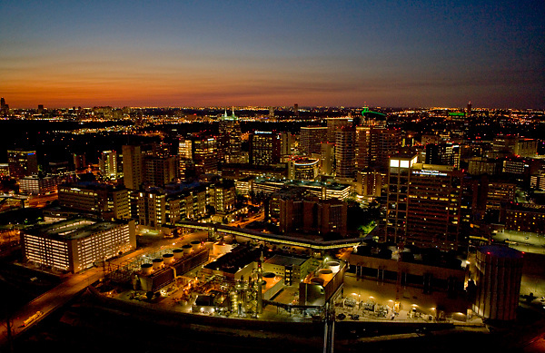 aerial view of texas medical center at night stockyard photos. Black Bedroom Furniture Sets. Home Design Ideas