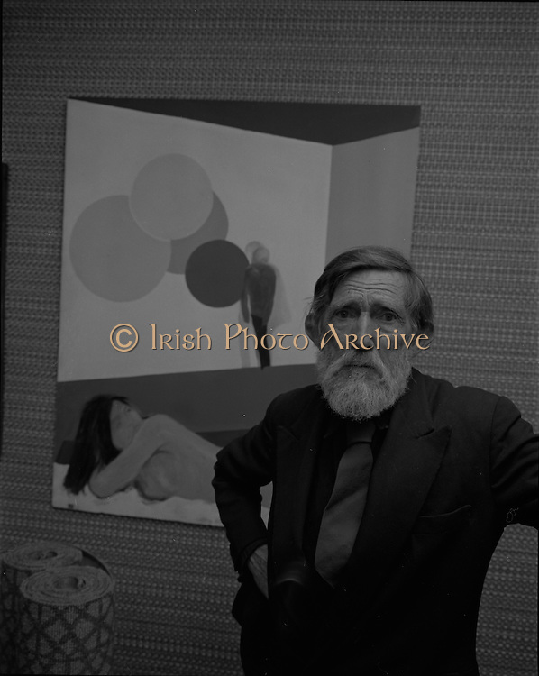 "04/07/1969.07/04/1969.4th July 1969.Sean Keating at an exhibit of a representative selection of the exhibits in the RTE Regional Arts awards from Limerick  shown in the Tintawn showroom in South KIng Street, Dublin...Sean Keating.Sean Keating (1889-1977).Portrait and figure painter, John Keating was born in Limerick on 28th September 1889...Examples: Armagh: County Museum. Ballinasloe, Co. Galway: St Joseph's College. Beijing: Irish Embassy. Belfast: Dublin Institute for Advanced Studies; Passionist Retreat, The Graan. Galway: National University of Ireland. Glasgow: Art Gallery and Museum. Kilkenny: ederated Workers' Union of Ireland; Hugh Lane Municipal Gallery of Modern Art; Institution of Engineers of Ireland; McKeeBarracks; Mansion House; National Gallery of Ireland; National Museum of Ireland; Office of Public Works; Pharmaceutical Society of Ireland; University College (Newman House; Earlsfort Terrace). Dundrum, Co. Dublin: Carmelite Fathers, Gort Muire. Enniskillen, Co. Fermanagh: Ulster Museum. Bray, Co. Wicklow: Letterkenny, Co. Donegal: St Eunan's Cathedral. Limerick: City Gallery of Art; County Library; University, National Self-Portrait Collection. Naas, Co. Kildare:  Public Library. Brussels: Mused Modeme. Cork: Collins Barracks; Crawford Municipal Art Gallery. Dublin: Aras an Uachtar~in; Church of Ireland See House, Temple Road, Milltown; Church of St Therese, Mount Merrrion; Church of the Holy Spirit, Ballyroan; Co. Dublin Vocational Education Committee;.Literature: Royal Dublin Society Report of Council, 1""4; The Studio, May 1915, July 1917, September 1923 (also illustration), July 1914, October 1924, November 1951; Seumas O'Brien, The Whale and the Grasshopper, Dublin 1920 (illustration); Dublin Magazine, December 1923 (illustration), October 1924 (illustration), July- September 1943, October-December 1946; John M. Synge, The Playboy of the Western World, London 1927 (illustrations); J. Crampton Walker, Irish Life and Landscape, Dublin 1927 (also i"