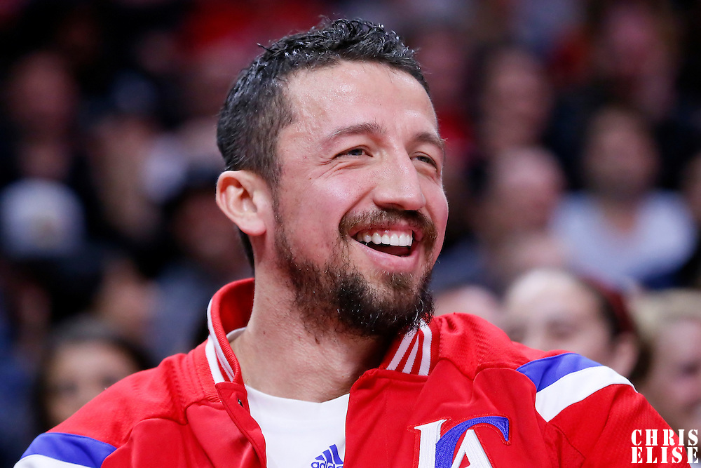 10 January 2014: Los Angeles Clippers forward Hedo Turkoglu (15) reacts on the bench during the Los Angeles Clippers 120-100 victory over the Dallas Mavericks, at the Staples Center, Los Angeles, California, USA.