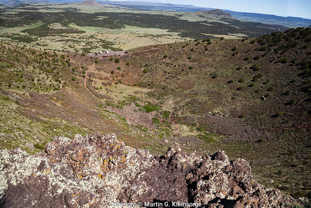 Looking down into the crater of Capulin Volcano from the Crater Rim Trail.  Capulin Volcano National Monument, New Mexico.  USA