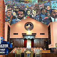 Atlanta, Georgia Composite of Three Photos<br /> Three photos of Atlanta, Georgia are: 1) The external sign of the Ebenezer Baptist Church where Martin Luther King was co-pastor until his death in 1968; 2) The church&rsquo;s pulpit where MLK delivered his first sermon in 1947; and 3) The 125 foot memorial painting by Louis Delsarte called &ldquo;Dreams, Visions and Change&rdquo; in the Peace Plaza near the MLK Visitors&rsquo; Center.