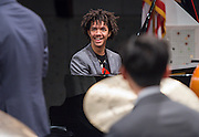 Los Angeles County High School for the Arts Jazz Quartet member Jamael Dean plays piano during a program sponsored by the Thelonius Monk Institute at Waltrip High School, February 29, 2016.