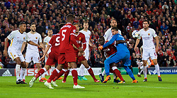 LIVERPOOL, ENGLAND - Tuesday, April 24, 2018: Liverpool's Sadio Mane and AS Roma's goalkeeper Alisson Becker during the UEFA Champions League Semi-Final 1st Leg match between Liverpool FC and AS Roma at Anfield. (Pic by David Rawcliffe/Propaganda)