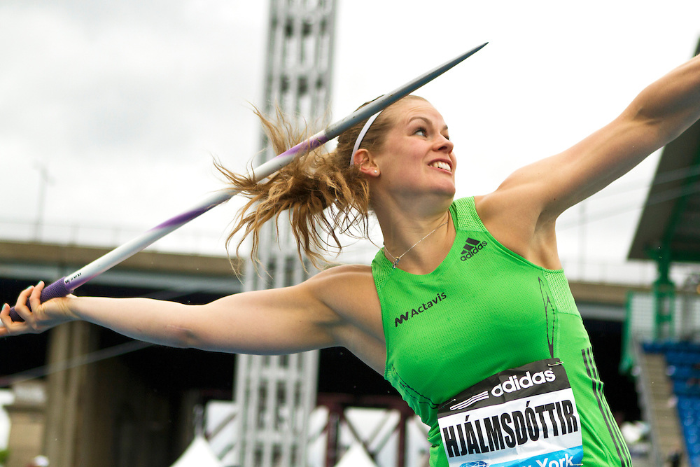 adidas Grand Prix Diamond League professional track & field meet: womens javelin throw, Ásdís HJÁLMSDÓTTIR, Iceland