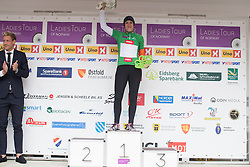 Lucinda Brand (NED) of Rabo-Liv Cycling Team takes over the green jersey of the leader of the sprint competition after the 97,1 km second stage of the 2016 Ladies' Tour of Norway women's road cycling race on August 13, 2016 between Mysen and Sarpsborg, Norway. (Photo by Balint Hamvas/Velofocus)