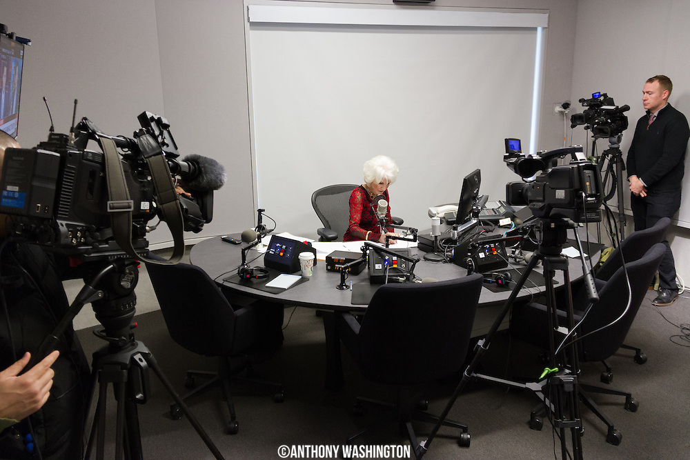 Diane Rehm, host of The Diane Rehm Show, had more company than usual in the studio with her for her final show on Friday, December 23, 2017 at WAMU 88.5 in Washington, DC. Broadcasters from the DC area and Japan sent camera crews to cover her last show.