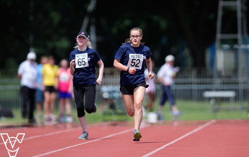 Metro Blind Sport's 2017 Athletics Open held at Mile End Stadium.  100m.  Emma Quigley, left, and Rebecca Blakey<br /> <br /> Picture: Chris Vaughan Photography for Metro Blind Sport<br /> Date: June 17, 2017