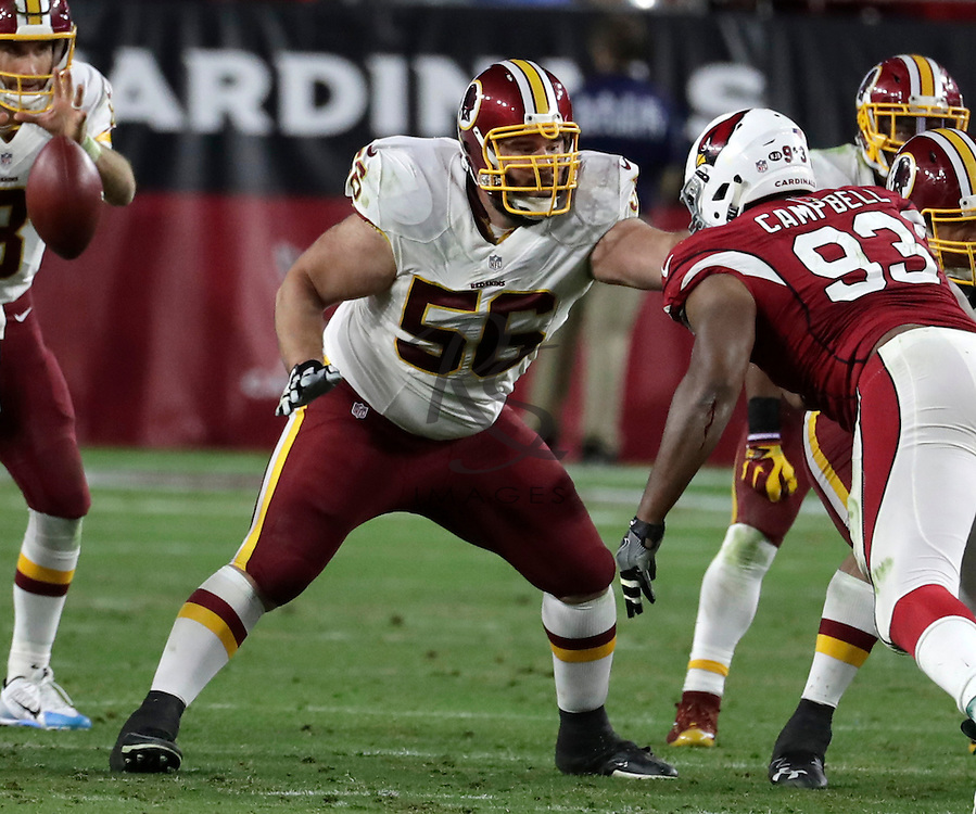 Washington Redskins center John Sullivan (56) during an NFL football game against the Arizona Cardinals, Sunday, Dec. 4, 2016, in Glendale, Ariz. (AP Photo/Rick Scuteri)