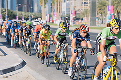 Shelley Olds holds Elise Delzenne's wheel as the peloton starts to get strung out.