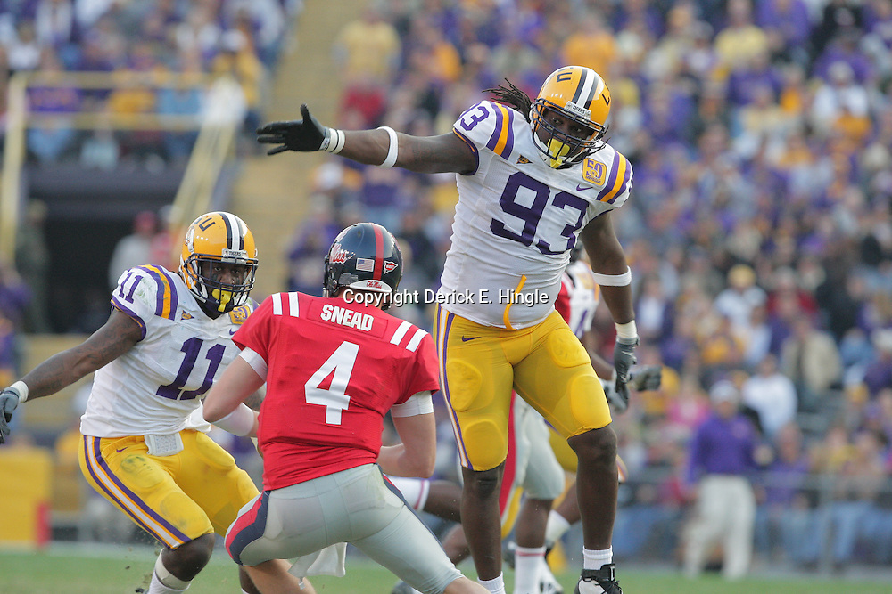22 November 2008: LSU defenders Tyson Jackson (93) and Kelvin Sheppard (11) pressure Mississippi quarterback Jevan Snead (4) during the NCAA football game between the Ole Miss Rebels and the LSU Tigers at Tiger Stadium in Baton Rouge, LA.