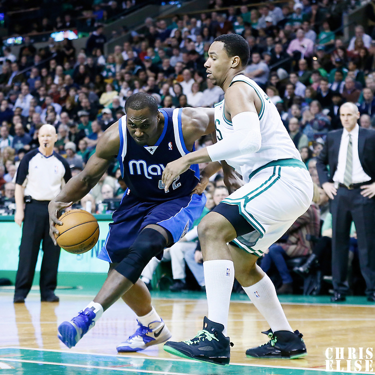 12 December 2012: Dallas Mavericks power forward Elton Brand (42) drives past Boston Celtics power forward Jared Sullinger (7) during the Boston Celtics 117-115 2 overtimes victory over the Dallas Mavericks at the TD Garden, Boston, Massachusetts, USA.