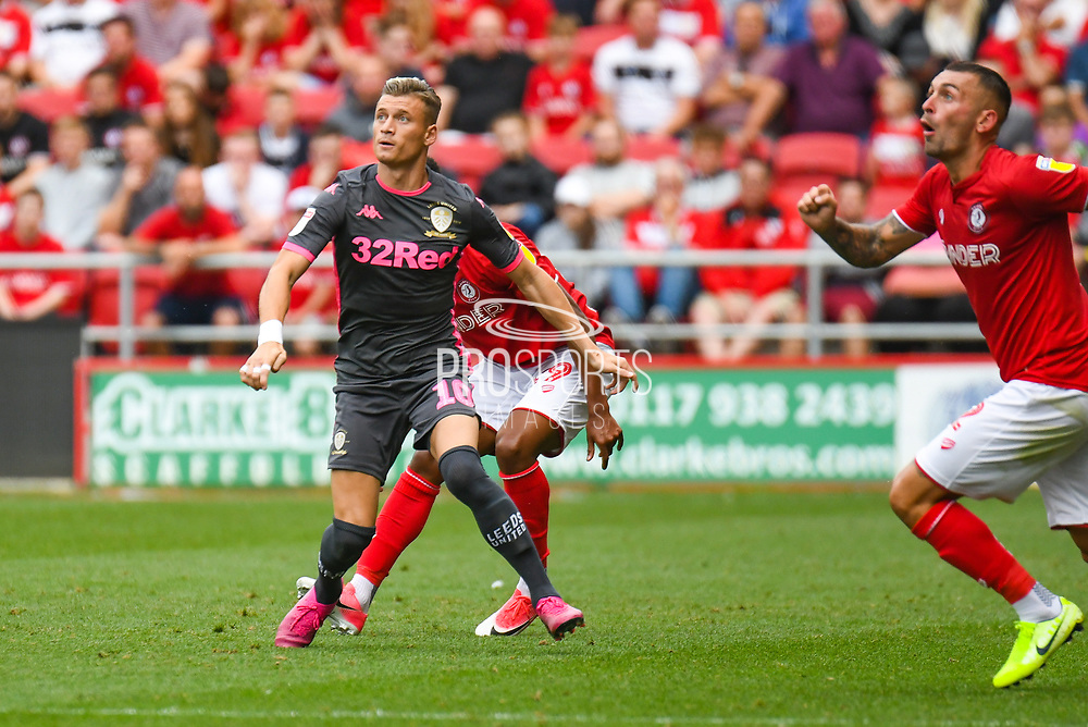 Ezgjan Alioski of Leeds United (10) in action during the EFL Sky Bet Championship match between Bristol City and Leeds United at Ashton Gate, Bristol, England on 4 August 2019.