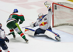 20.02.2015, Curt-Fenzel-Stadion, Augsburg, GER, DEL, Augsburger Panther vs EHC Red Bull M&uuml;nchen, 49. Runde, im Bild Niklas Treutle (Torwart EHC Muenchen) klaert gegen Daniel Wei&szlig;, Weiss (Augsburger Panther #57), // during Germans DEL Icehockey League 49th round match between Augsburger Panther and  EHC Red Bull M&uuml;nchen at the Curt-Fenzel-Stadion in Augsburg, Germany on 2015/02/20. EXPA Pictures &copy; 2015, PhotoCredit: EXPA/ Eibner-Pressefoto/ Krieger<br /> <br /> *****ATTENTION - OUT of GER*****