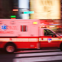 Ambulance rushing at Times Square, New York City, NY, USA