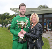 Ann Kelly presents the Sean Kelly Memorial Cup to Hilltown Hotspur captain Liam Peter - Hilltown Hotspur (green) v DUMS (red and black)  - Sean Kelly Memorial Cup Final at University Grounds, Riverside - Dundee Saturday Morning FA<br /> <br />  - &copy; David Young - www.davidyoungphoto.co.uk - email: davidyoungphoto@gmail.com