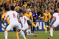 © Licensed to London News Pictures. 11/6/2013. Marco Bresciano has a shot during the FIFA World Cup Qualifying match between Australia Vs Jordan at Docklands stadium, Melbourne, Australia.. Photo credit : Asanka Brendon Ratnayake/LNP