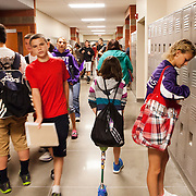 Ladlie makes her way through the halls of the Lincoln County Ninth Grade Center. According to Katie, most of the students have gotten used to her leg and don't treat her different than any other student.
