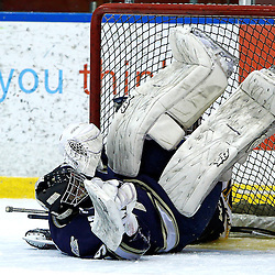 WHITBY, ON - Jan 5 : Ontario Junior Hockey League game action between the Whitby Fury and the Toronto Lakeshore Patriots.  Toronto Lakeshore Patriots Hockey Club Evan Buitenhuis after the collision during second period game action.<br /> (Photo by Tim Bates / OJHL Images)