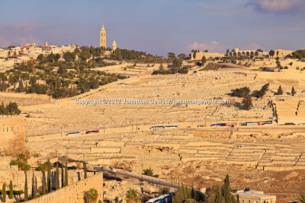 Daytime view of the Jewish cemetery on Jerusalem's Mount of Olives. WATERMARKS WILL NOT APPEAR ON PRINTS OR LICENSED IMAGES.