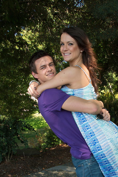 United States, Washington, Kirkland, young couple in Marsh Park  MR