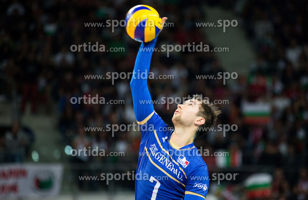 Kevin Tillie #7 of France during volleyball match between National teams of France and Bulgaria in 2nd Semifinal of 2015 CEV Volleyball European Championship - Men, on October 17, 2015 in Arena Armeec, Sofia, Bulgaria. Photo by Vid Ponikvar / Sportida