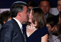 Republican Cory Gardner moves to kiss his wife Jamie after winning the U.S. Senate race in Colorado in the U.S. midterm elections in Denver, Colorado, November 4, 2014.  REUTERS/Rick Wilking (UNITED STATES)