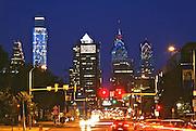 Philadelphia Skyline, Comcast (l), BNY Mellon Skyscrapers, Market Street, Night Lights