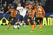 Hull City forward Fraizer Campbell (25) brings down Preston North End midfielder John Welsh (19) during the EFL Sky Bet Championship match between Hull City and Preston North End at the KCOM Stadium, Kingston upon Hull, England on 26 September 2017. Photo by Ian Lyall.