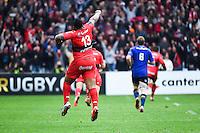 Essai Bryan Habana / Joie Mathieu Bastareaud - 19.04.2015 - Toulon / Leinster - 1/2Finale European Champions Cup -Marseille<br />Photo : Andre Delon / Icon Sport