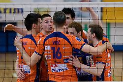 ACH celebrate at final match of Slovenian National Volleyball Championships between ACH Volley Bled and Salonit Anhovo, on April 24, 2010, in Radovljica, Slovenia. ACH Volley defeated Salonit 3rd time in 3 Rounds and became Slovenian National Champion.  (Photo by Vid Ponikvar / Sportida)
