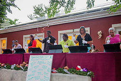 The Nisky Moravian Church Handbell Choir perform Carol of the Bells.   Christmas Tree Lighting and Seasonal Fundraiser for the Humane Society of St. Thomas.  St. Thomas, USVI.  11 De© Aisha-Zakiya Boyd