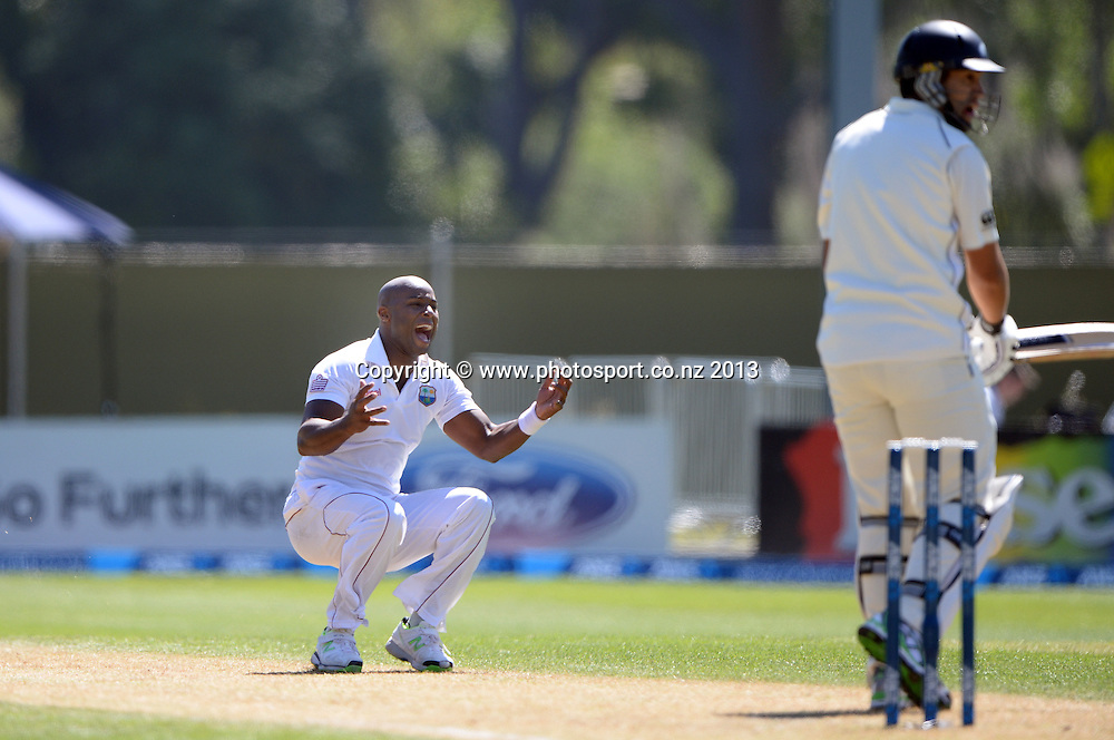 A frustrated Tino Best on Day 2 of the 1st cricket test match of the ANZ Test Series. New Zealand Black Caps v West Indies at University Oval in Dunedin. Wednesday 4 December 2013. Photo: Andrew Cornaga/www.Photosport.co.nz