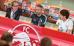 02.05.2018, Red Bull Arena, Salzburg, AUT, UEFA EL, FC Salzburg vs Olympique Marseille, Halbfinale, Rueckspiel, Pressekonferenz, im Bild Pressesprecher Christian Kircher, Trainer Marco Rose (FC Salzburg), Andre Ramalho (FC Salzburg) // Pressoffice Christian Kircher, Coach Marco Rose (FC Salzburg), Andre Ramalho (FC Salzburg) during Pressconference before the UEFA Europa League Semifinal, 2nd Leg Match between FC Salzburg and Olympique Marseille at the Red Bull Arena in Salzburg, Austria on 2018/05/02. EXPA Pictures © 2018, PhotoCredit: EXPA/ JFK