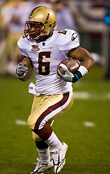 Dec 26, 2009; San Francisco, CA, USA;  Boston College Eagles running back Jeff Smith (6) returns the opening kick off during the first quarter of the 2009 Emerald Bowl against the Southern California Trojans at AT&T Park.  USC defeated BC 24-13.