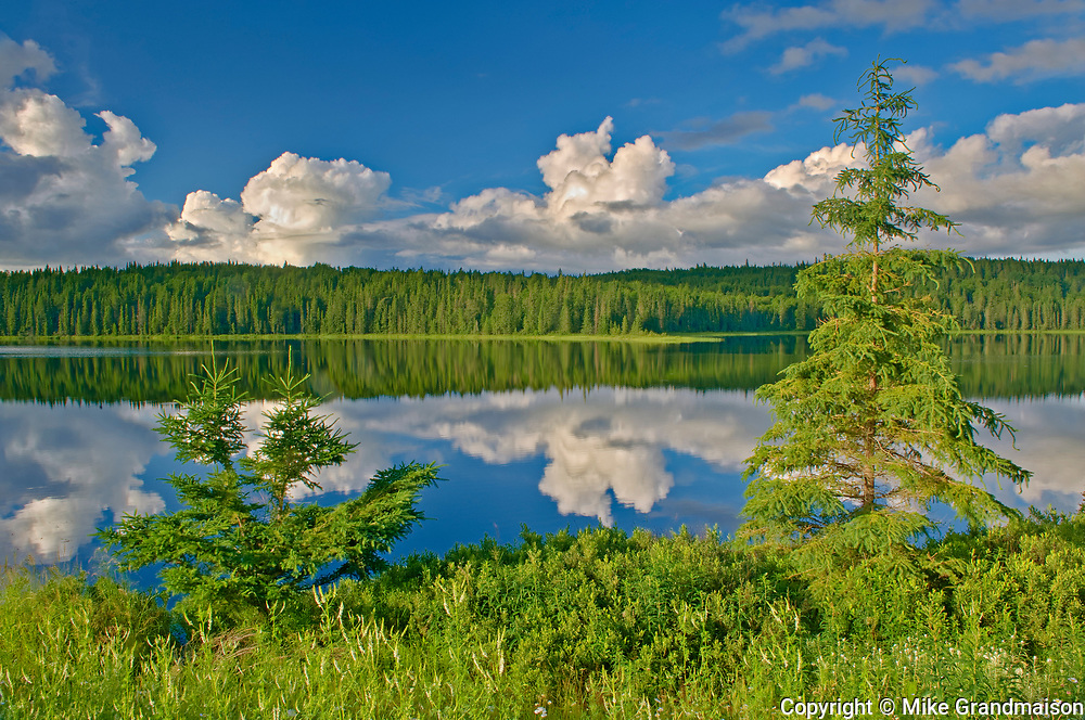 CLouds reflected in Trail Lake. Hwy 105<br />