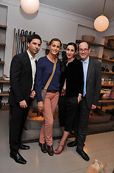 Left to right, JONATHAN ZATLAND, YASMIN LE BON and MICHAEL & NICOLA SACHER at a party at Mungo & Maud, 79 Elizabeth Street, London to celebrate the launch of a collection of dog accessories designed by Yasmin Le Bon held on 22nd November 2011.