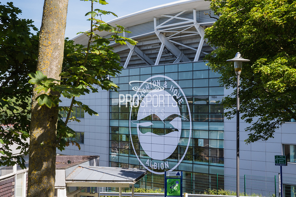 Outside view of the American Express Community Stadium ahead of the FIFA Women's World Cup UEFA warm up match between England Women and New Zealand Women at the American Express Community Stadium, Brighton and Hove, England on 1 June 2019.