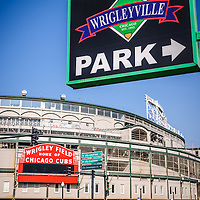 Wrigleyville Sign and Wrigley Field. Home to the Chicago Cubs, Wrigley Field is one of the oldest baseball stadiums in the United States. Wrigleyville is a popular area of Chicago with a multitude of bars and restaurants.
